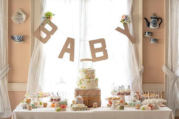 garden themed girl baby shower dessert table