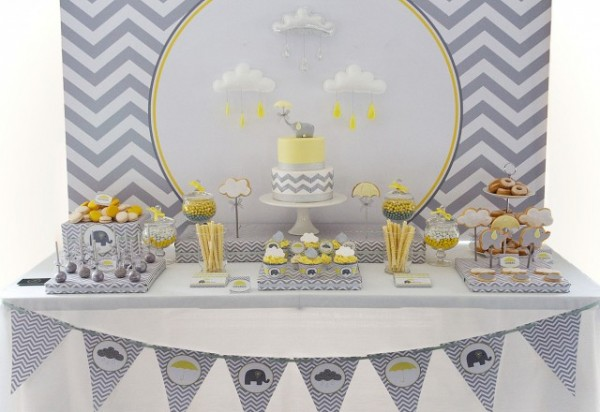 Yellow and Gray elephant themed boy baby shower dessert table