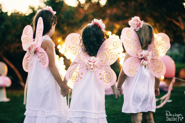 Make dollar store fairy wings FABULOUS with a step-by-step tutorial on www.designdazzle.com! So simple, so quick, it's perfect! #diyfairywings #fairyparty