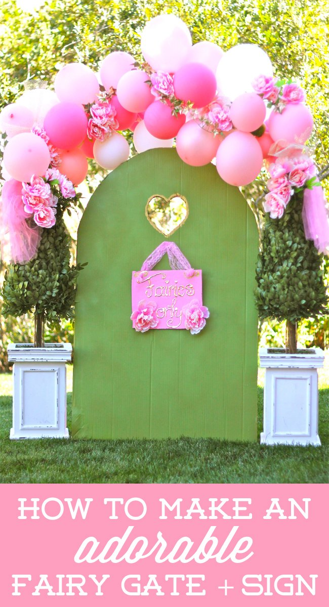 How to make an ADORABLE fairy gate + sign using a cardboard box! on Design Dazzle #fairyparty