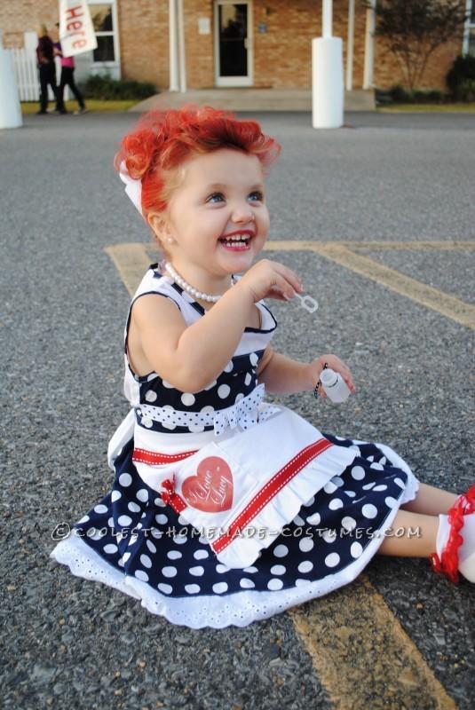 i love lucy girl costume 50s costume polka dot dress Lucille Ball