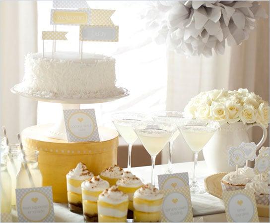 Yellow Sunshine themed baby shower dessert table