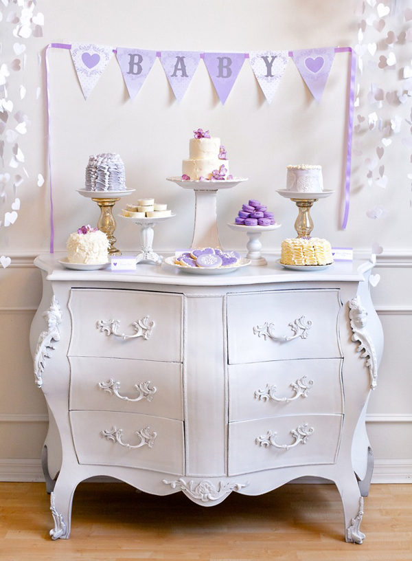 Pretty lavendar baby love baby shower dessert table