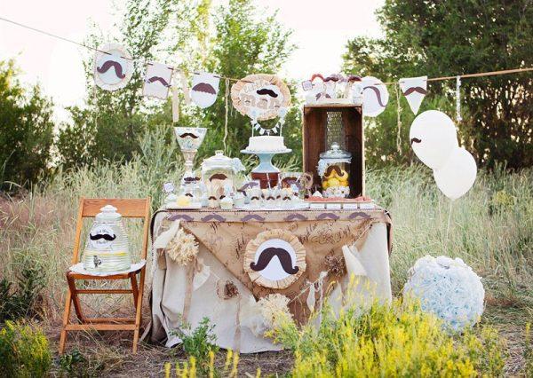 Little Man Mustache Baby Shower dessert table