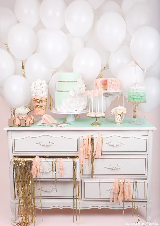 Peach and Mint baby shower dessert table