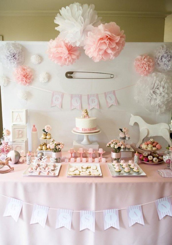gorgeous girl baby shower dessert tables design dazzle