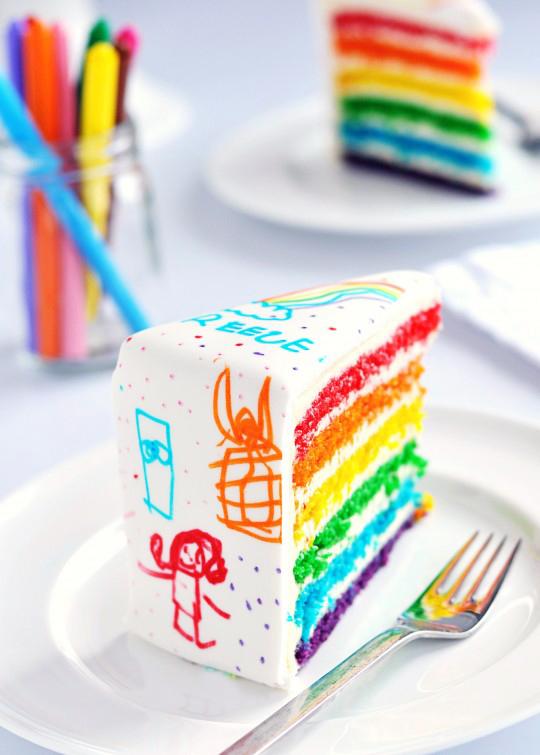 rainbow doodle birthday cake diy party decor ideas