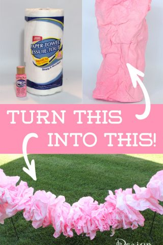 Use craft paint and paper towels to make a pretty pink ruffle garland! #fairyparty #diy