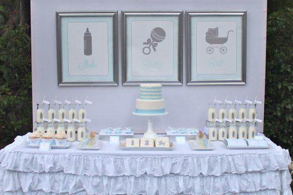 Shake Rattle & Roll baby shower dessert table