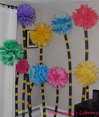 DIY truffula tree for a Dr. Seuss birthday party