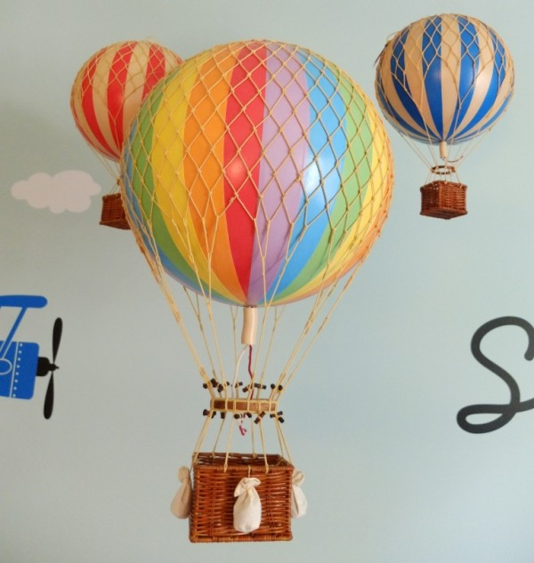 Twins Nursery with a hot air balloon as inspiration