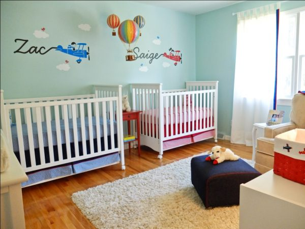 """Gender Neutral Twins Nursery with an """"Up, Up & Away"""" Theme - perfect for boy & girls twins!"""