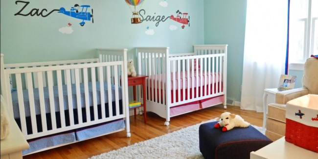 "Twins Nursery with an ""Up, Up & Away"" Theme - perfect for boy & girls twins!"