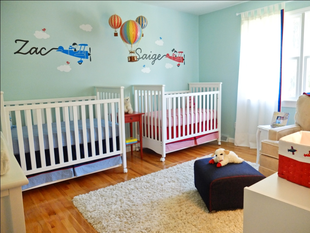 Gender neutral twins nursery up up away theme design - Cuarto de bebe nina ...