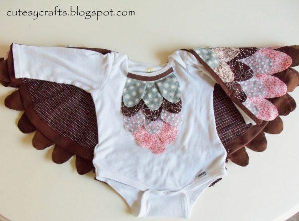 Baby Owl Costume using a Onesie