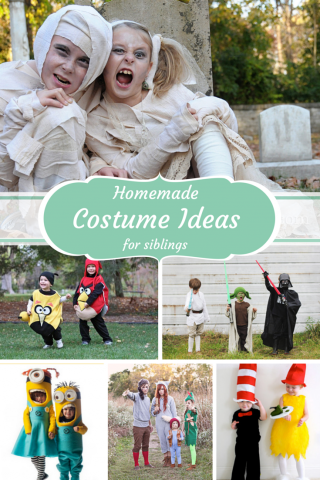 Homemade Halloween Costume Ideas for Siblings - so fun to do with your family!