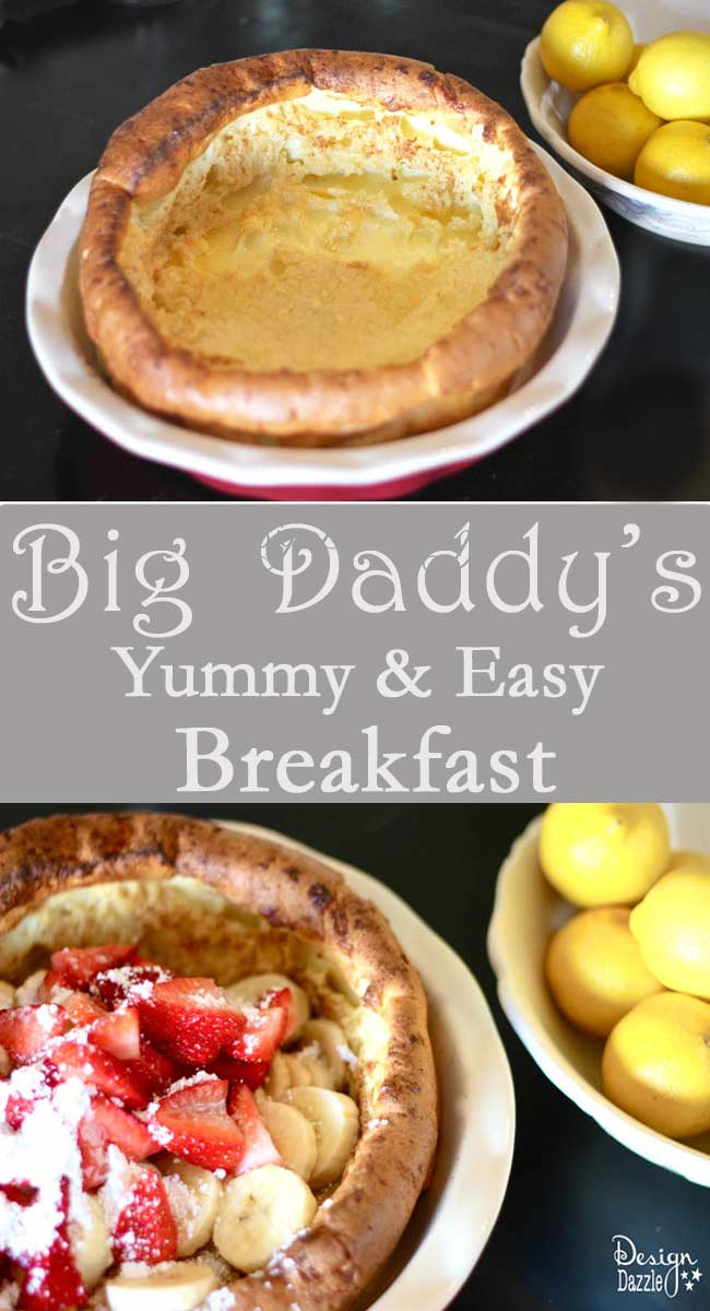 What in the world are Big Daddy's?? Just imagine a big puffy crepe or big puffy pancake (like a souffle). I love the fact that Big Daddy's make for an Easy Breakfast or Dinner! Our family occasionally has breakfast for dinner ; ) These can be made gluten free. Design Dazzle