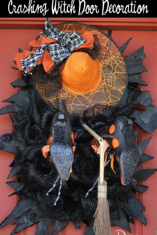 How to Create a Crashing Witch Door Decoration with step by step instructions! #halloweendecor #halloween