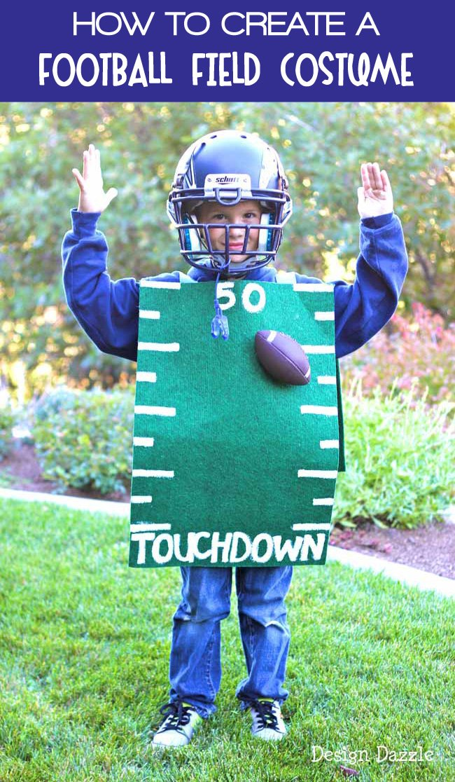 How to Create a fun Football Field Halloween Costume using Dollar Store Supplies! #halloweencostumes #halloween