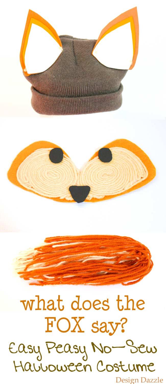 Easy last minute Halloween fox costume. No-sew and quick!   DIY kids halloween costumes   DIY halloween costumes   halloween costume ideas for kids   no sew halloween costumes   easy homemade halloween costumes    Design Dazzle #DIYhalloweencostumes