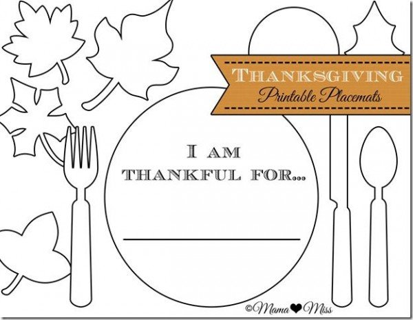 Thanksgiving Day activities for kids - Printable Placemats on Design Dazzle