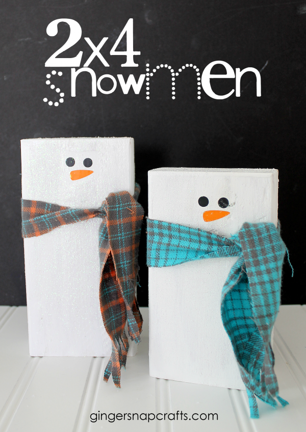 2x4 Snowmen Tutorial for Christmas Wonderful Series by GingerSnapCrafts.com #gingersnapcrafts #tutorial