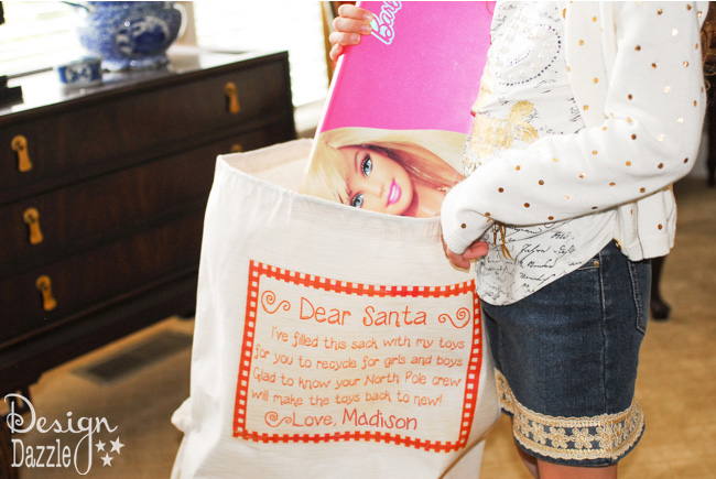 Dear Santa, Recycle My Toys bag - a great way for kids to recycle their toys and make room for the new Christmas toys.
