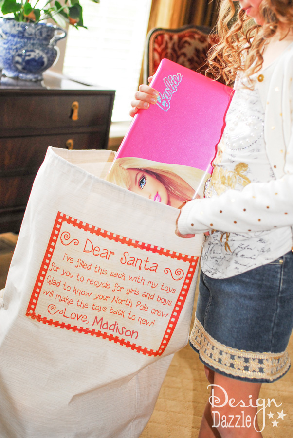 Dear Santa, Recycle My Toys bag - such a great idea to get rid of old toys to donate and make room for new Christmas toys.