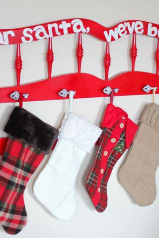 Repurposed Headboard: Christmas Stocking Holder
