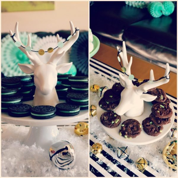 Christmas in black, white and mint reindeer