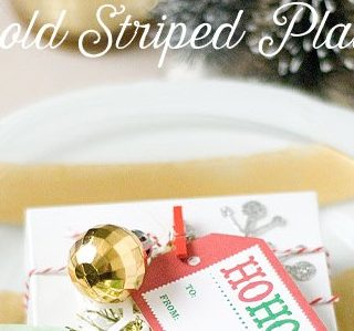 DIY Gold Striped Holiday Plate