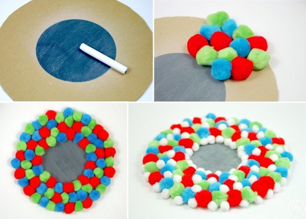 Here is the step-by-step tutorial of how to make a darling pom pom wreath this Christmas!