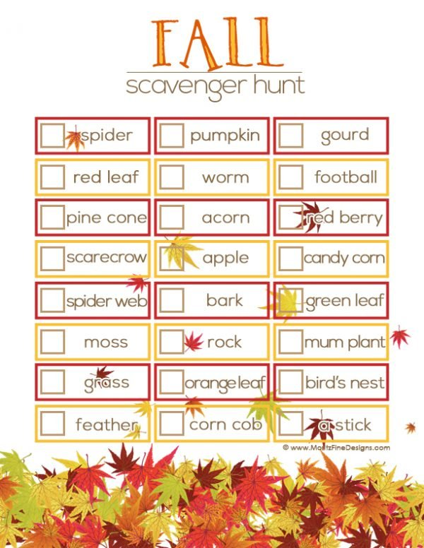 Send the kids outside for a few with this fun Fall Scavenger Hunt