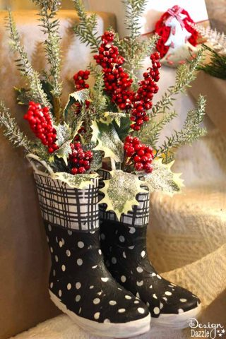 Repurpose Old Rubber Boots Into Christmas Decor