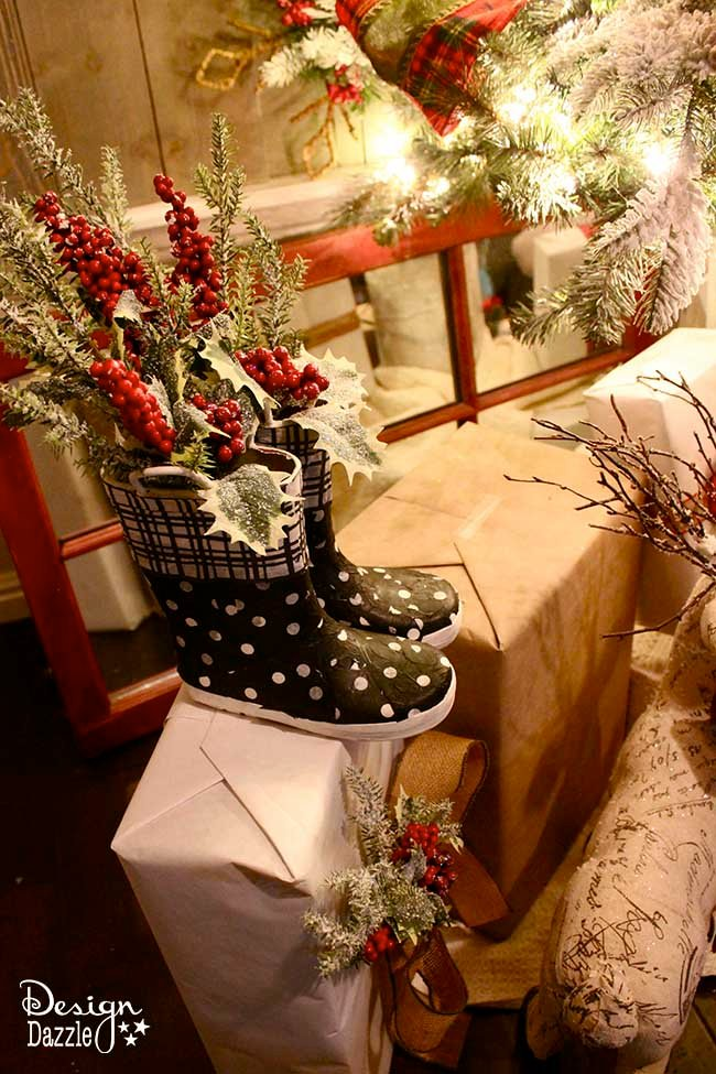 DIY Christmas Decor with old boots! Make it fabulous at Designdazzle.com #diyChristmas