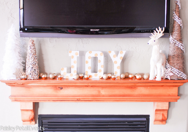 DIY polka dot letters on my mantel for Christmas