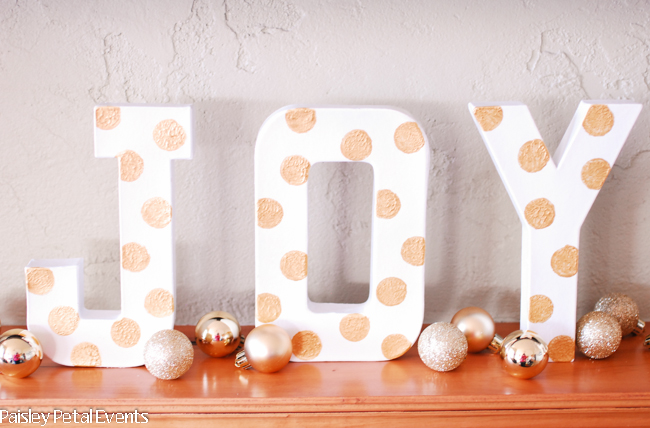 DIY polka dot letters - JOY for Christmas