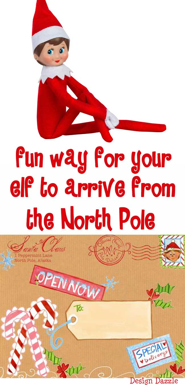"A fun way for your elf to arrive from the North Pole with our special North Pole label! Love the idea ""place the box in the freezer"" (for the North Pole effect). Design Dazzle #elfontheshelfideas #elfontheshelf #christmaskids"