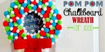 holiday pom pom chalkboard wreath