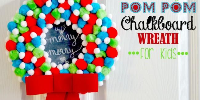 holiday pom pom chalkboard wreath