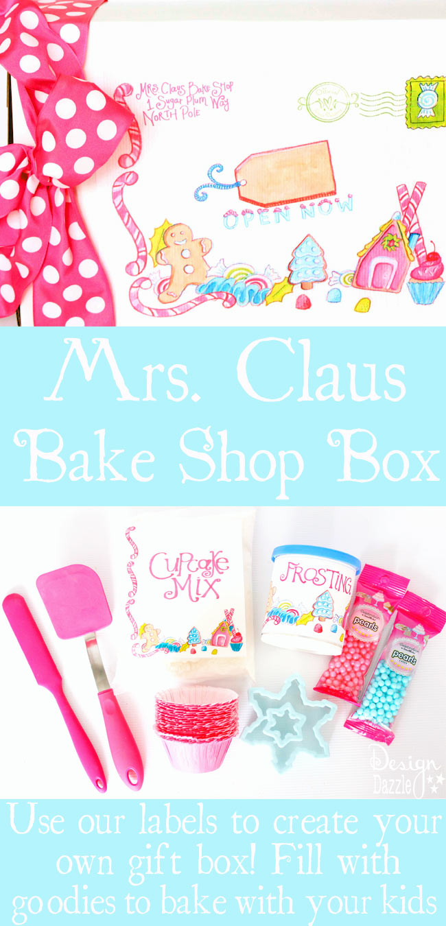 Print out the Mrs Claus Bake Shop labels and attach to a box. Fill with items and goodies that will provide a great baking time with your family -Christmas apron, cookie cutters, sprinkles, etc. You can attach our labels to pre-made frosting and cupcake/cookie mix for an EASY baking experience. Place on the doorstep and have someone ring the doorbell (unbeknownst to your kids). Have your kids go the the door to see who it is. They find this adorable package and it's straight from the Mrs. Claus North Pole Bakery!! #christmaskids #christmasbaking