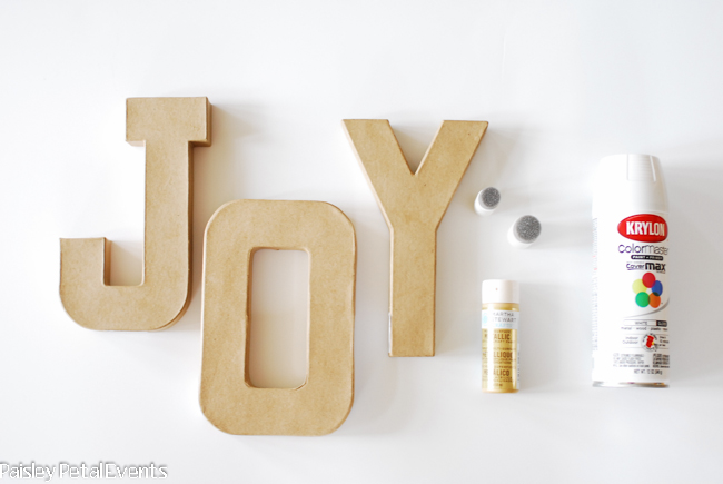 DIY polka dot letters supplies