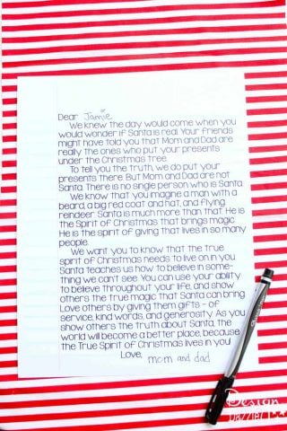 Sant is Real Letter - free printable Design Dazzle
