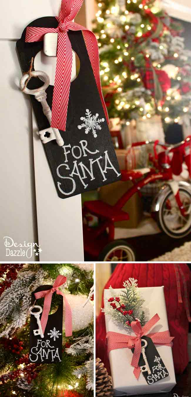 Magic Key for Santa. Use indoors for a cute decoration and hang at the front door on Christmas Eve. If you don't want to craft this project, we have the free chalkboard printable for you to just print and cut!!  Also, free printable Santa's Magic Key poem. Design Dazzle #Christmas #christmaskids