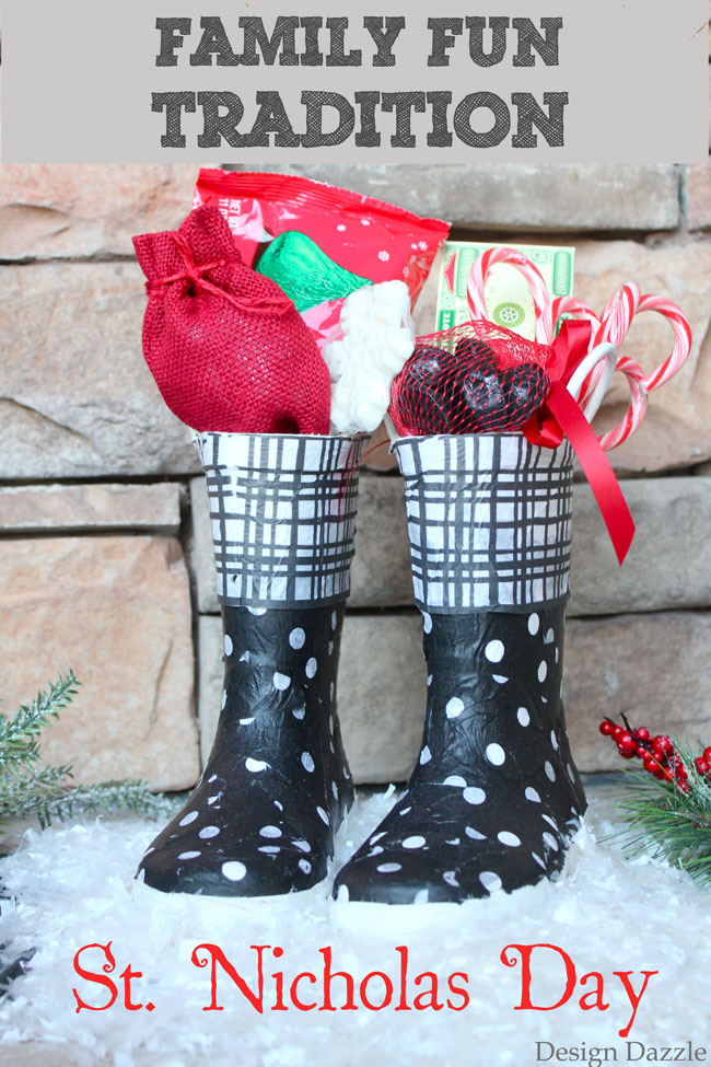 Repurpose old boots into Christmas decor for a family fun tradition - St. Nicholas Day. Design Dazzle #christmastraditions #repurpose #christmascrafts