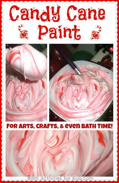 Make candy cane paint for the kids to have some fun in the bathrub