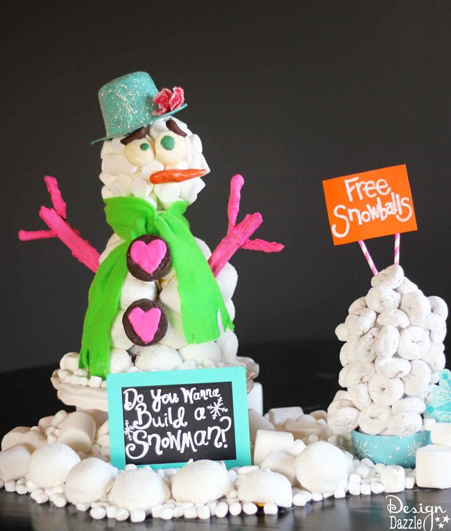 Edible Snowman Centerpiece made with Hostess Sno Balls, Ding Dongs and Donettes by Design Dazzle #HostessHoliday