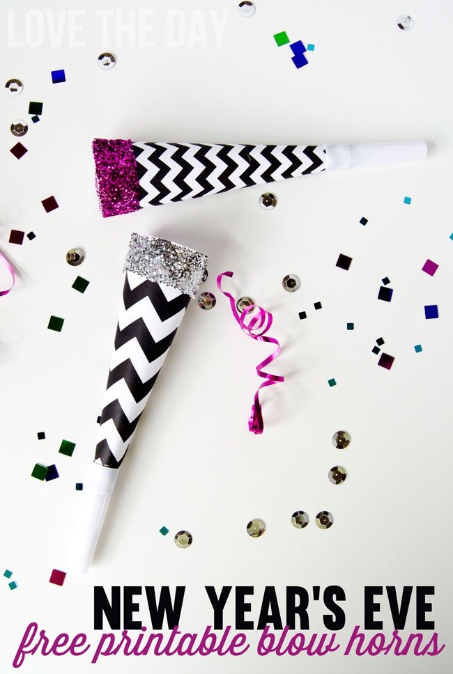 New Year's Eve Party Blow Horns {Free Printables} Featured on Design Dazzle