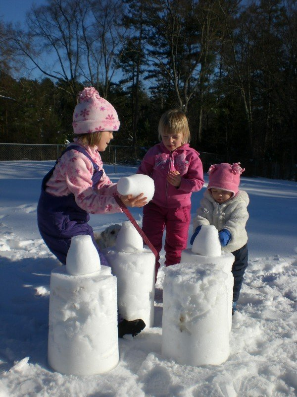 Build a fun snow castle for an afternoon outdoor activity