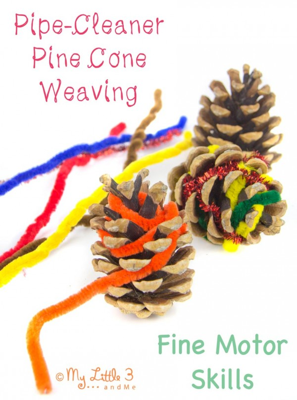 Create some cool pinecones with pipe cleaners for a fun indoor winter activity